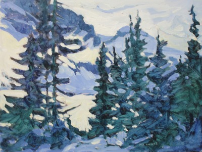 TREES - BOW LAKE AB - 9X12 - OIL ON PANEL - 2003