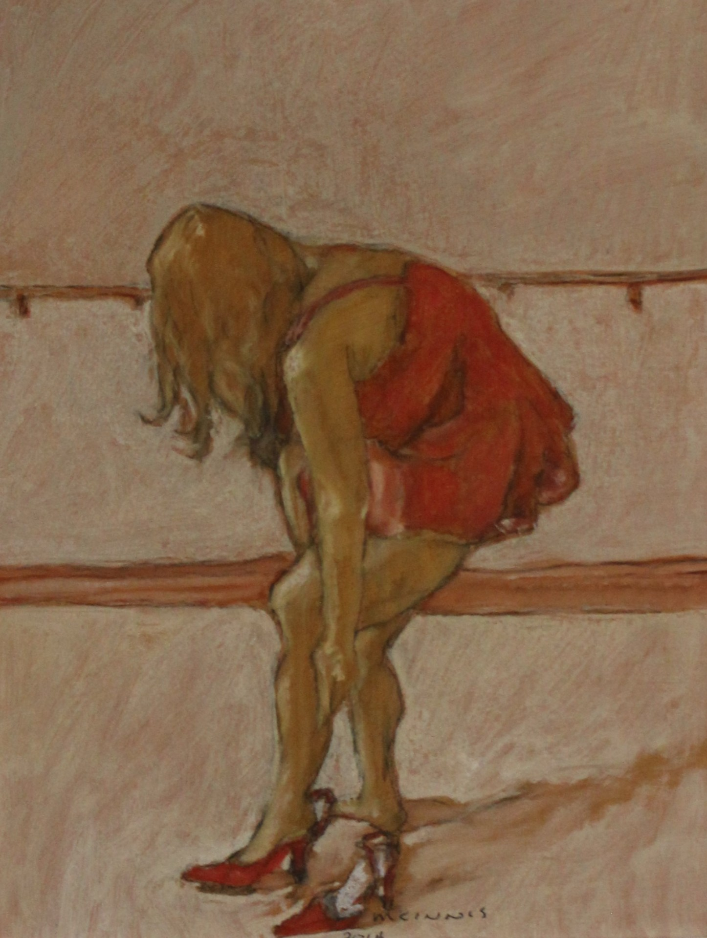 BALLERINA IN RED - 12X9 - OIL ON PANEL - 2014