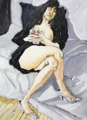 MODEL IN BLACK WITH WINE GLASS - 16X12 - OIL ON PANEL - 2015