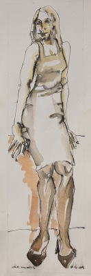 STANDING FIGURE 10-11-09-1026 - 16X4 - WATERCOLOUR ON PAPER - 2009