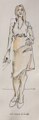 STANDING FIGURE 11-11-09-1027 - 16X4 - WATERCOLOUR ON PAPER - 2009