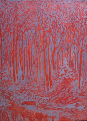 FOREST IN RED AND BLUE - 30X22 - OIL ON CANVAS - 2017
