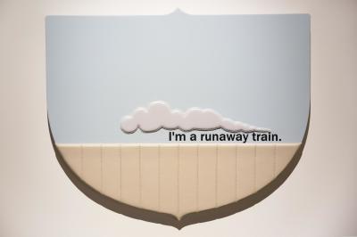 "RUNAWAY TRAIN - 44.25"" X 35.875"" X 1.25"" - VINYL - 2016"
