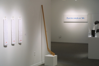 "PLEASE USE ME - 62"" X 12"" X 1"" - WOOD HOCKEY STICK, LACQUER - 2004"