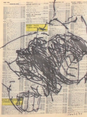 DRAWING ON TEXT #400 - INK ON PAPER - 1995