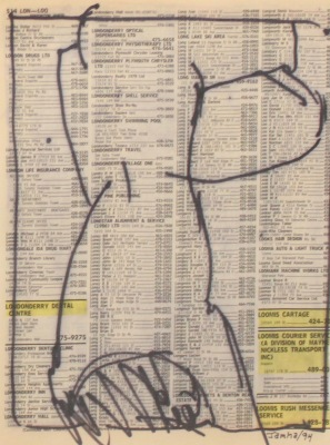 DRAWING ON TEXT #574 - INK ON PAPER - 10X8 - 1994