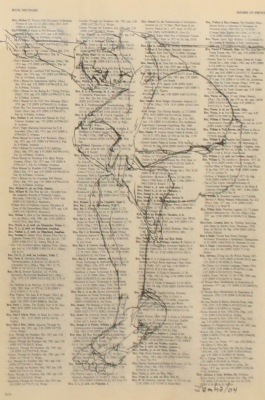 DRAWING ON TEXT #3616 - INK ON PAPER - 10X8 - 2004