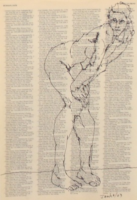 DRAWING ON TEXT #3746 - INK ON PAPER - 10X8 - 2003