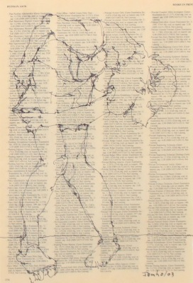 DRAWING ON TEXT #3756 - INK ON PAPER - 10X8 - 2003