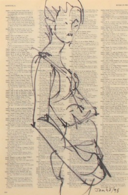 DRAWING ON TEXT #3884 - INK ON PAPER - 10X8 - 1998