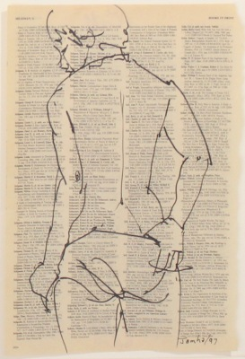 DRAWING ON TEXT #3924 - INK ON PAPER - 10X8 - 1997