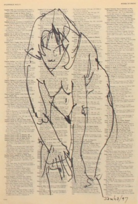 DRAWING ON TEXT #4414 - INK ON PAPER - 10X8 - 1997