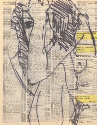 FIGURE DRAWING #402 - INK ON PAPER - 10X8 - 1995