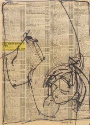 DRAWING ON TEXT #578 - INK ON PAPER - 10X8 - 1994