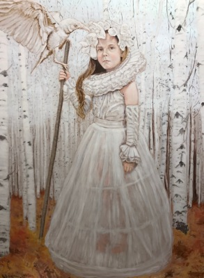 "GIRL WITH INJURED CROW - 48"" X 36"" - OIL ON BIRCH - 2018"