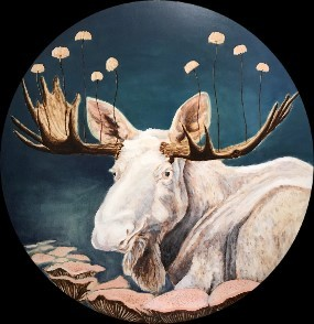 "WHITE MOOSE WITH MUSHROOMS - 40"" DIAMETER - OIL ON BIRCH - 2018"