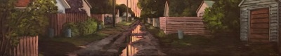 SUNSET IN MY ALLEY - 12X60 - OIL ON CANVAS - 2019