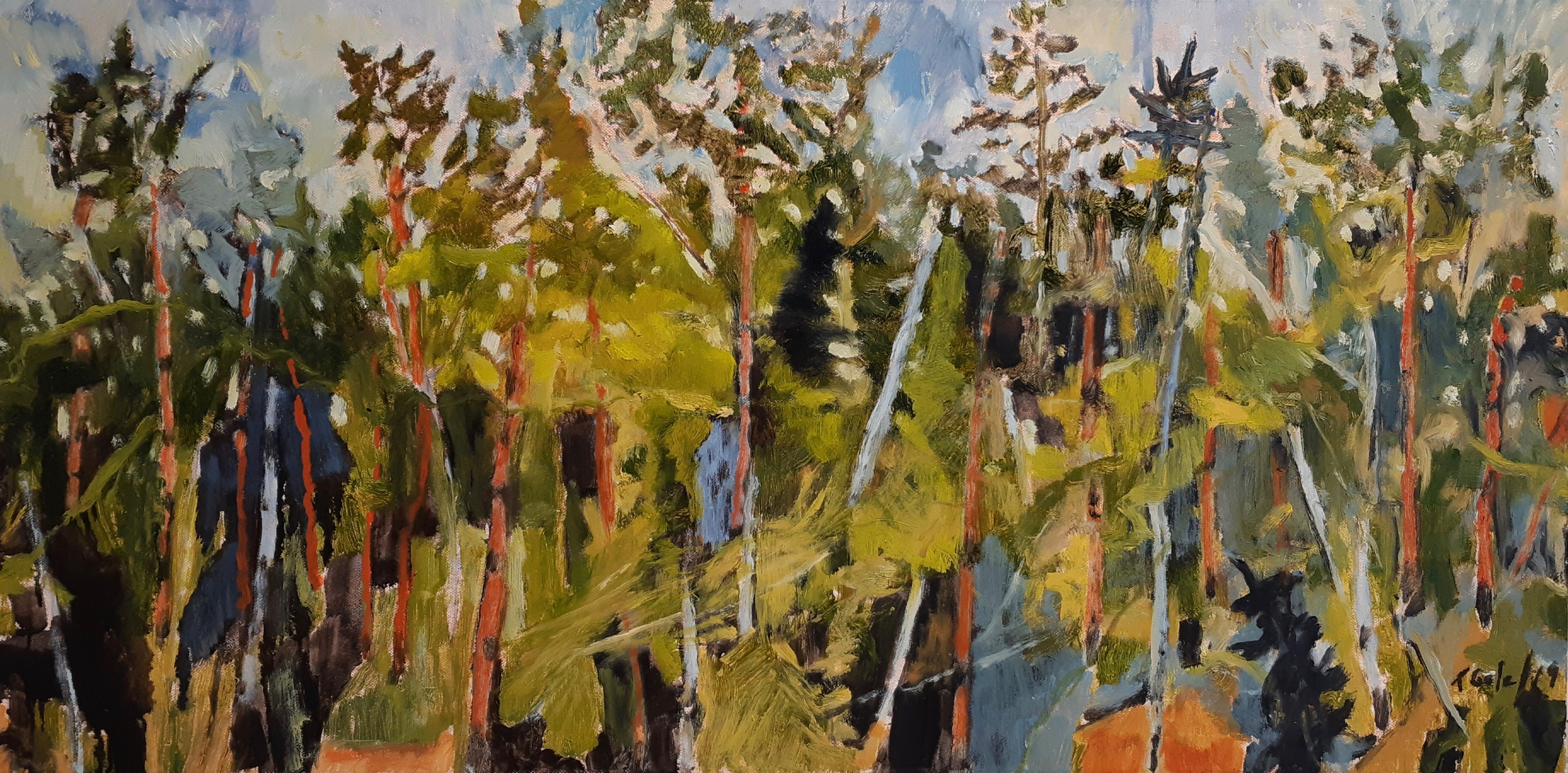 FOREST SKETCH - 18X36 - OIL ON CANVAS - 2019