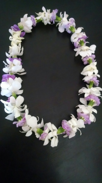 white orchid/purple carnation leis $45