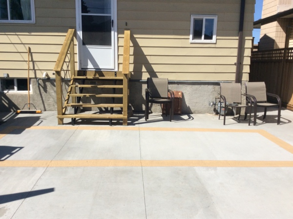 Concrete Pad and Wooden staircase