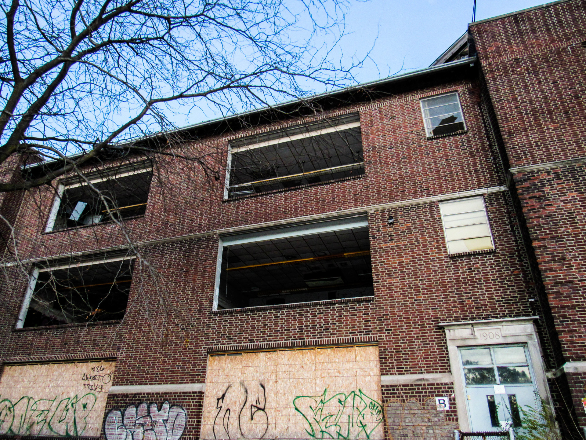 Photo of Gary, Indiana's abandoned, Emerson High School.