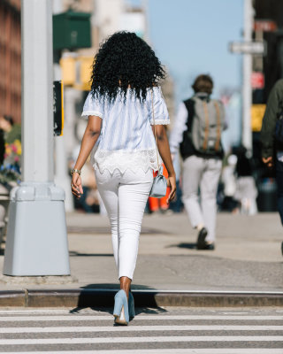 Black girl walking back