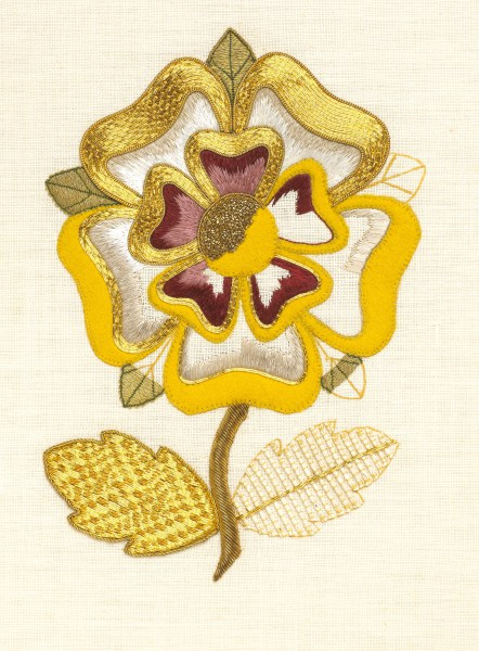 'Tudor Rose' utilising silk shading and goldwork