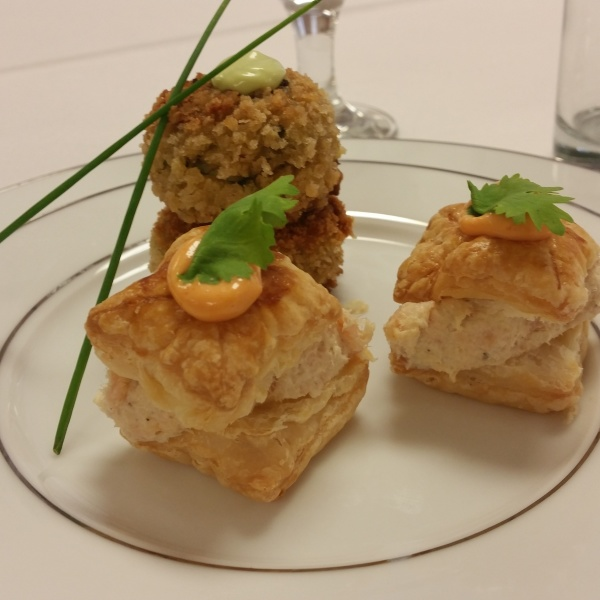 Ginger Crab Cakes with Wasabi Aioli, Smoked Salmon and Trout in Puff Pastry with Sirracha Mayo