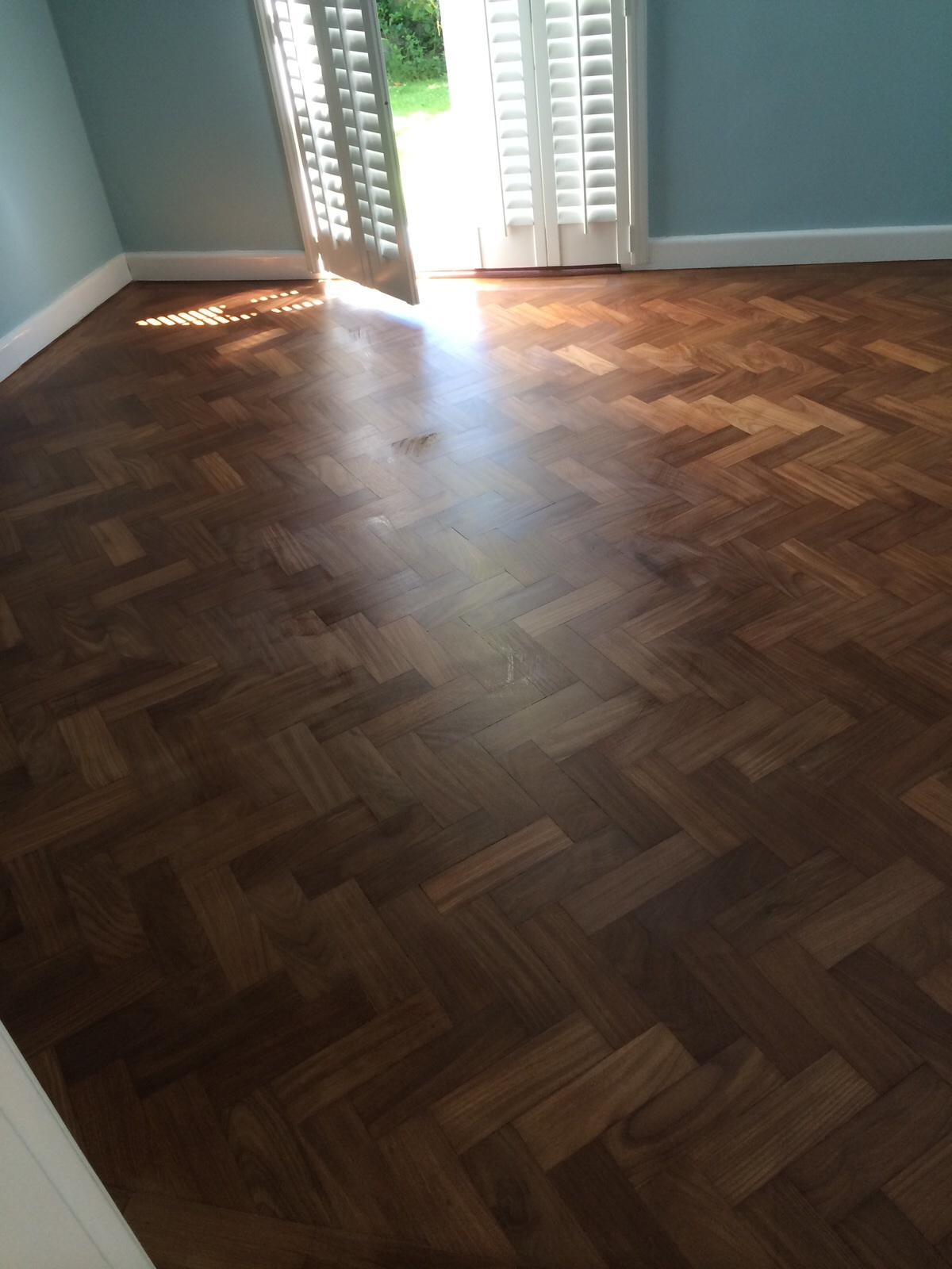 Sanded and Sealed Teak Herringbone