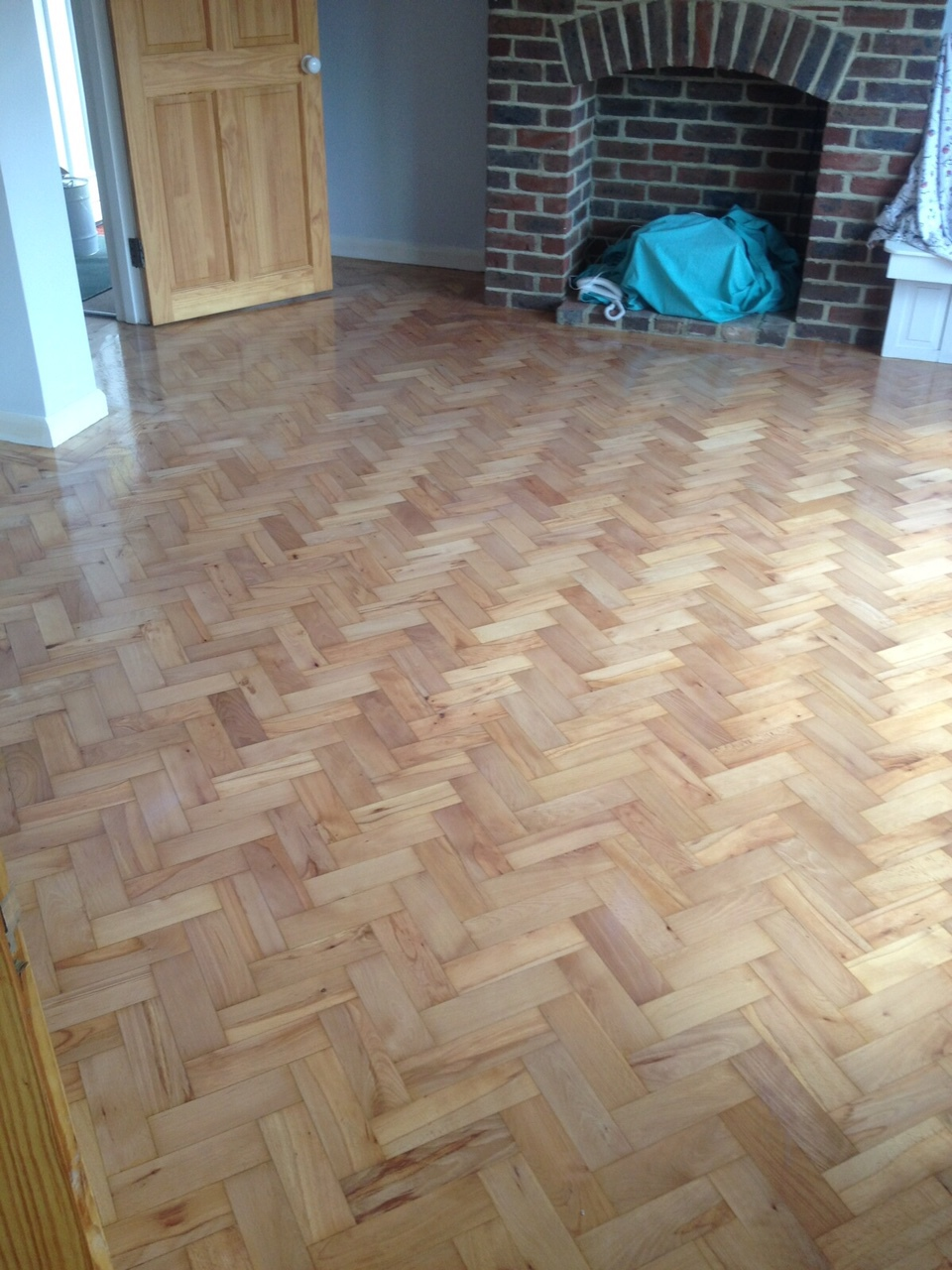 Sanded and Sealed Herringbone