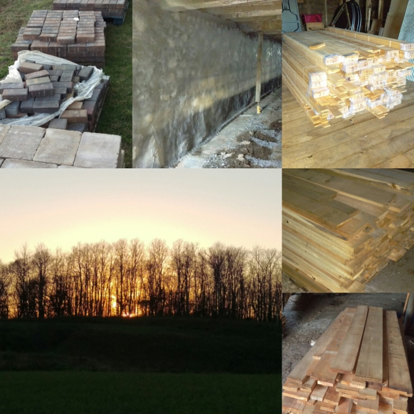New pavers, rock wall repair, new wood and sunset