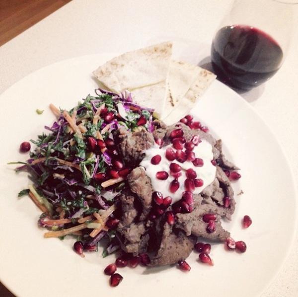 Lamb with kale, carrot, beetroot salad and tahini sauce