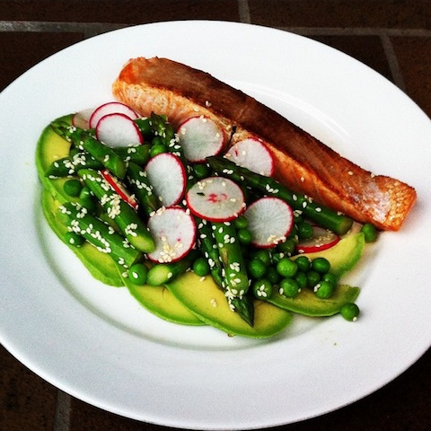 Salmon with avocado, asparagus, pea and radish salad
