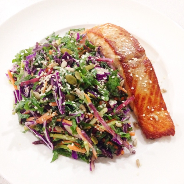 Salmon and kale coleslaw