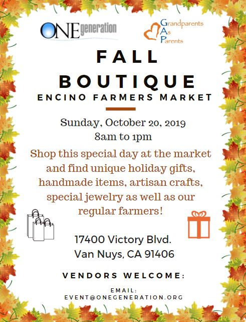 Fall Boutique at the Encino Farmers Market - Sun Oct 20th