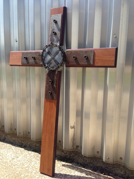 Reclaimed Wood and Metal Cross Art