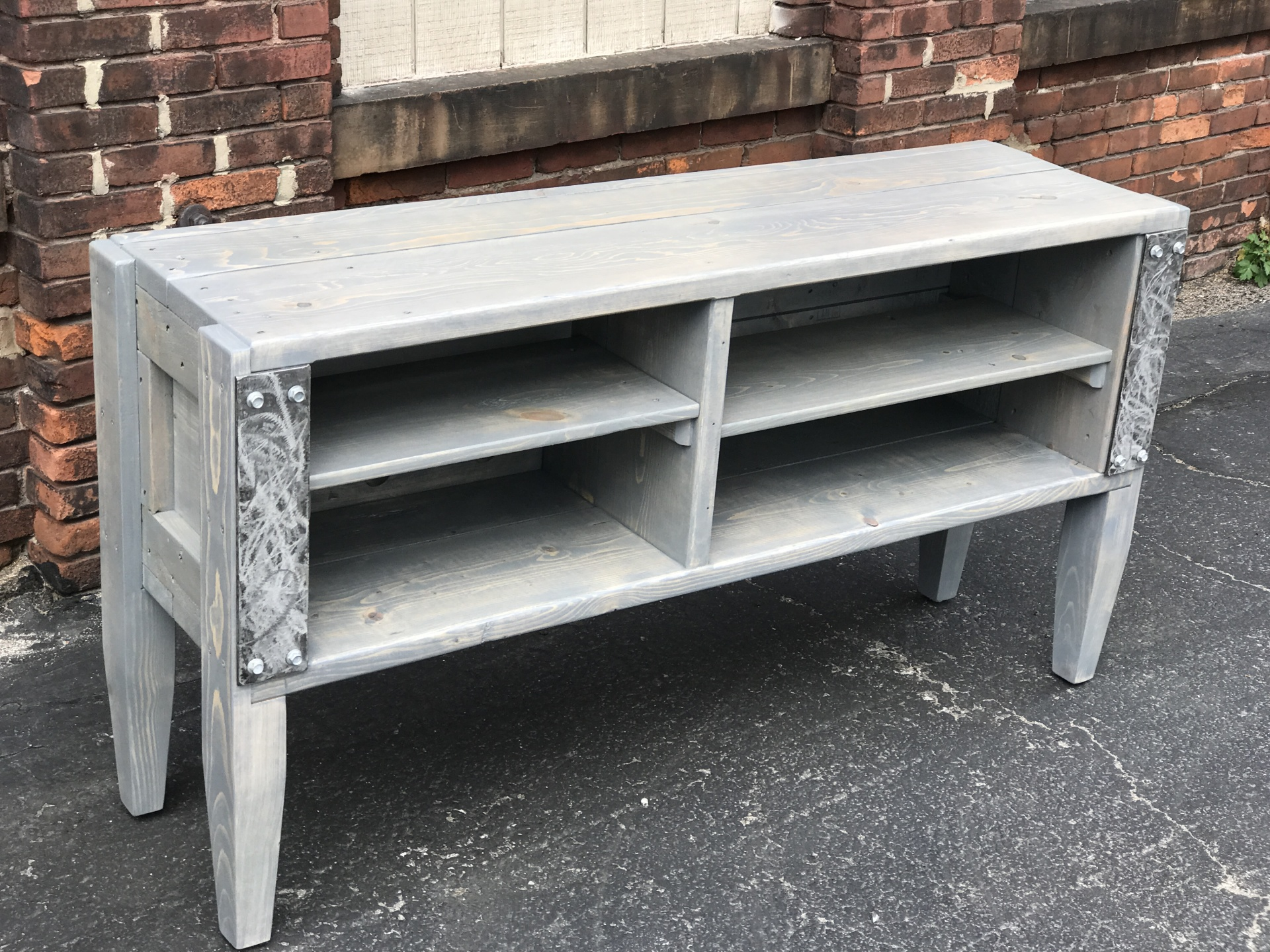 Reclaimed Wood and Metal Entertainment Center