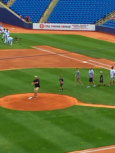Bill throwing the first pitch at Lake County Captains Game!