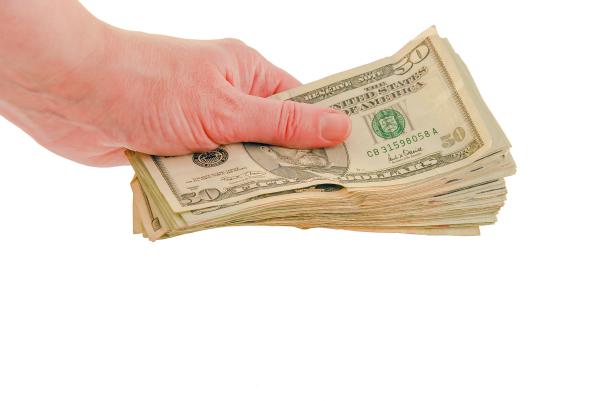 Hand Holding Money (No Gravity Studio)
