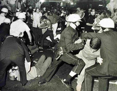 Chicago Riots 1968 outside Hilton Amphitheater