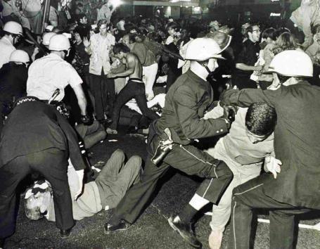 Chicago Riots 1968 outside Hilton Amphitheater