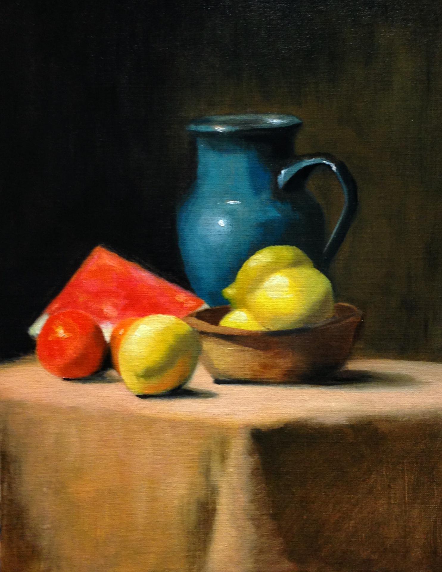 Turquoise Jug and Lemons