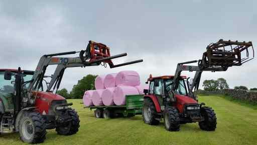 case tractors, pink wrap