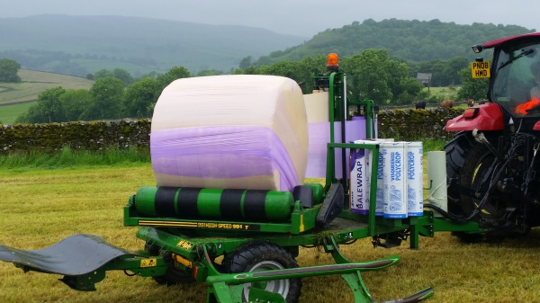 The bale is then wrapped