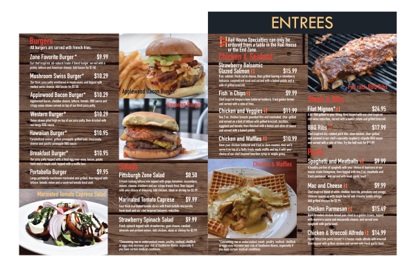 Entrees, Burgers and Salads