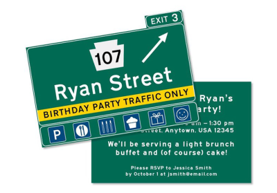 Personalized Exit Sign Invitations