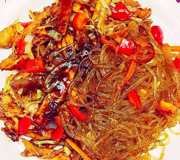 SPICY PORK BULGOGI WITH JAPCHAE (9.95)