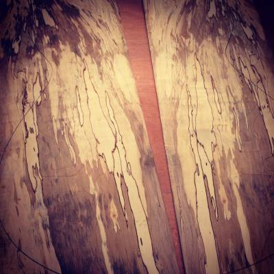 Spalted maple guitar back