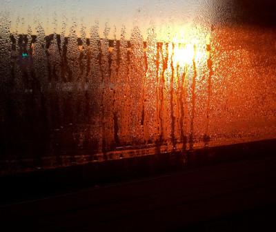 Moisture condensation on a window