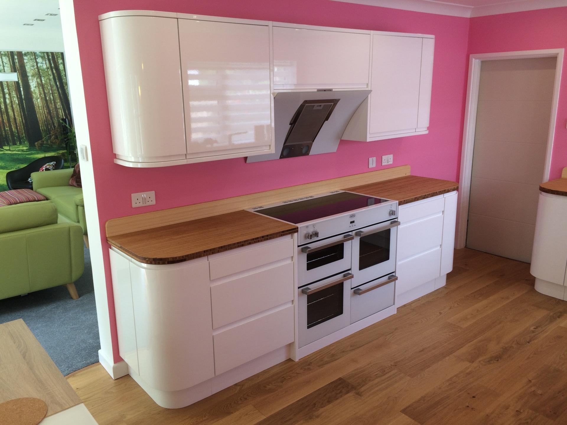 Curvy pink kitchen